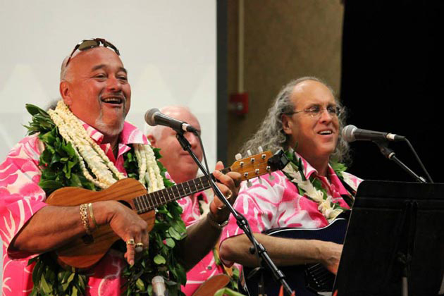 Pili onstage with Kumu Pekelo Day at the George Na'ope Hula Festival